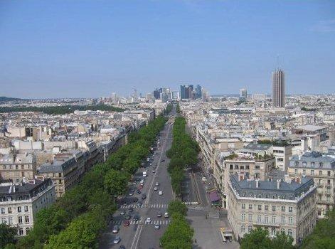 개선문 위에서 바라본 파리시내 전경