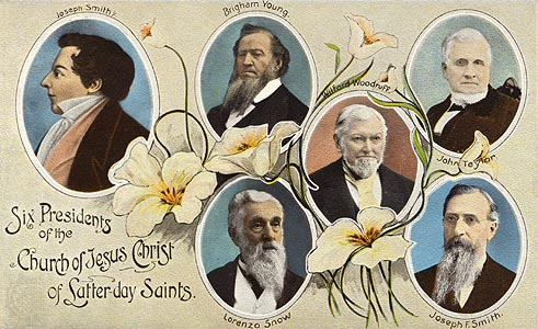 Postcard of the presidents of the Church of Jesus Christ of Latter-day Saints.