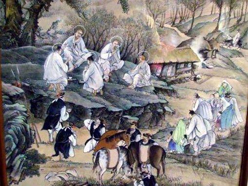 한국화로 표현된 초기 선교사들의 모습